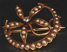 18 Victorian 14K Y Gold Diamond  Seed Pearl Pin