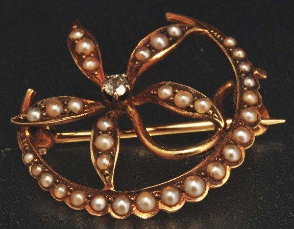 18: Victorian 14K Y. Gold Diamond & Seed Pearl Pin.