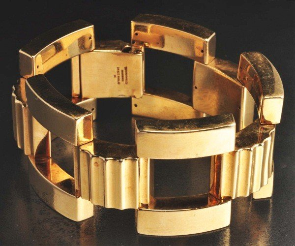 343: Tiffany 14K Gold Wide Bracelet.