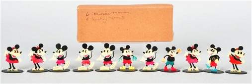 409: Lot of 11: Celluloid Mickey & Minnie Items.