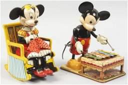645 Lot of 2 Tin Linemar Mickey  Minnie WindUp Toys