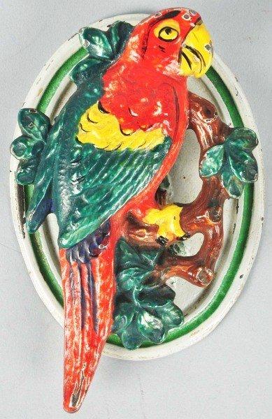 1002: Cast Iron Hubley Parrot on Branch Doorknocker.