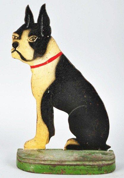 1018: Cast Iron Sitting Boston Terrier Doorstop.