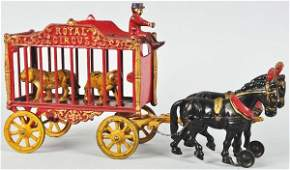 1055: Cast Iron Hubley Tiger Cage Wagon Toy.
