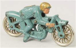 1075: Cast Iron Hubley Hill Climber Motorcycle Toy.