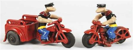 1099: Lot of 2: Cast Iron Popeye Motorcycle Toys.