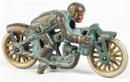 1101: Cast Iron Hubley Hillclimber Motorcycle Toy.