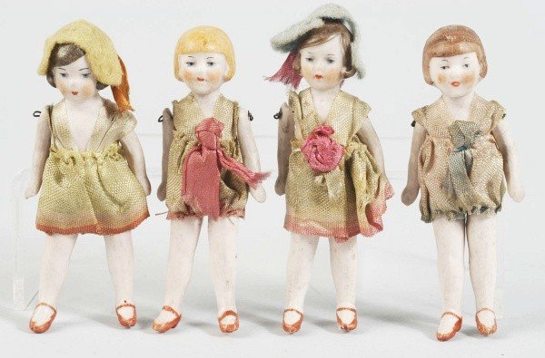 20: Lot of 4: German All Bisque Flapper Dolls.