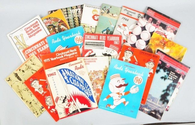 15: Large Lot of 1960s-70s Cincinnati Reds Yearbooks.