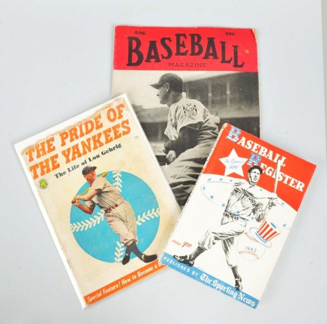 18: Lot of 3: Magazines with Lou Gehrig.