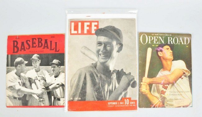 19: Lot of 3: Magazines with Ted Williams.