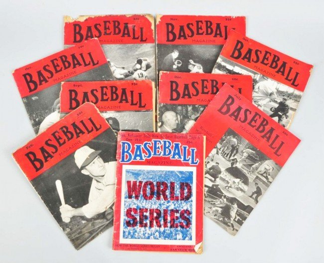 20: Lot of 9: 1940s-50s Issues of Baseball Magazine.