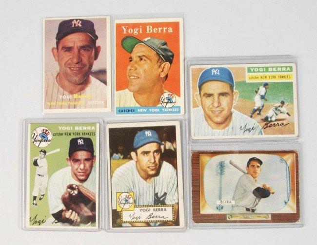 154: Lot of 6: Yogi Berra Baseball Cards.