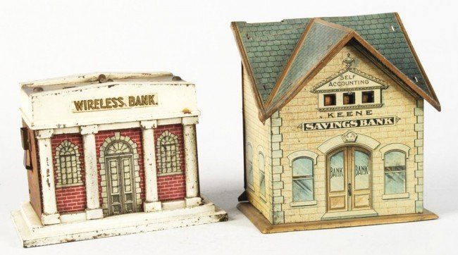 2: Lot of 2: Tin Building Banks.