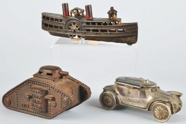 5: Lot of 3: Cast Iron & Diecast Vehicle Banks.