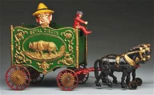 427: Cast Iron Hubley Royal Circus Farmer Van Toy.