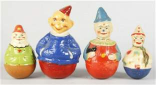 483 Lot of 4 Paper Mache Clown Roly Polys