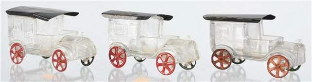 626 Lot of 3 Glass Automobile Candy Containers