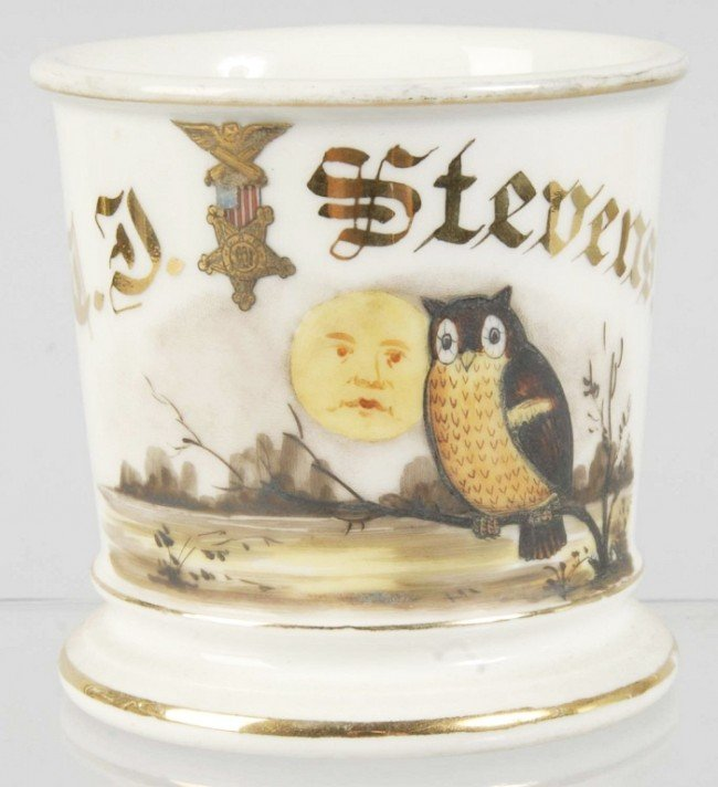 902: Owl & Moon Masonic Shaving Mug.