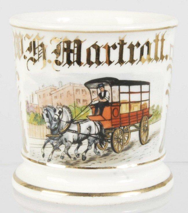 906: Horse-Drawn Wagon Shaving Mug.