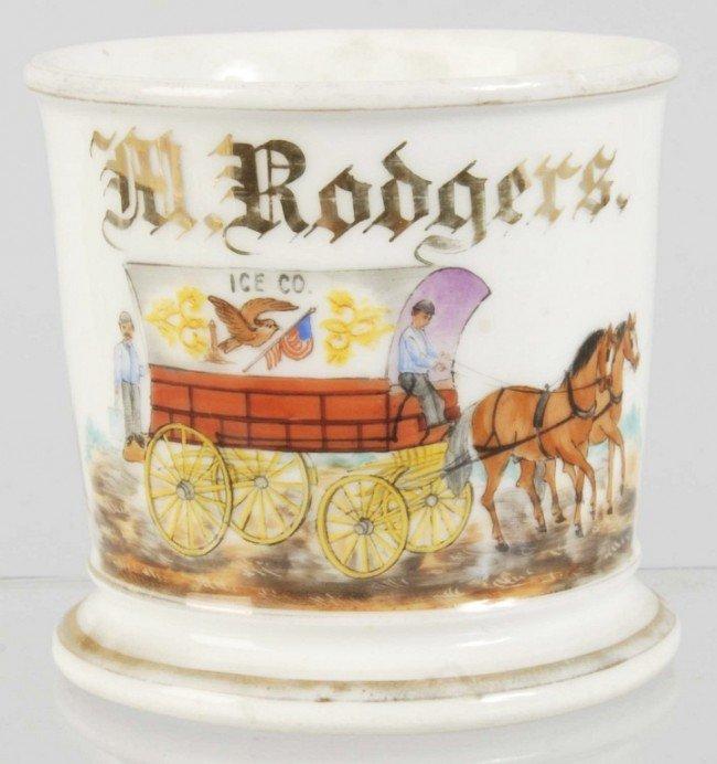 913: Horse-Drawn Ice Wagon Shaving Mug.