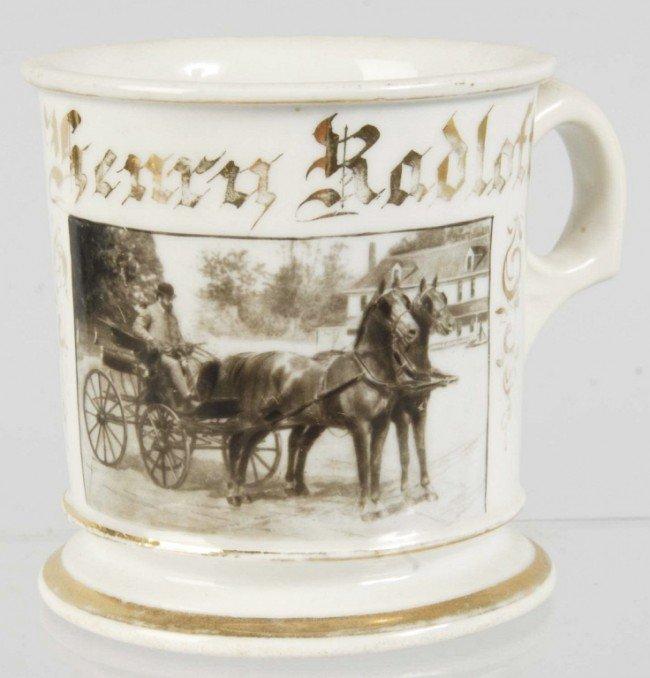 916: Photographic Horse-Drawn Carriage Shaving Mug.
