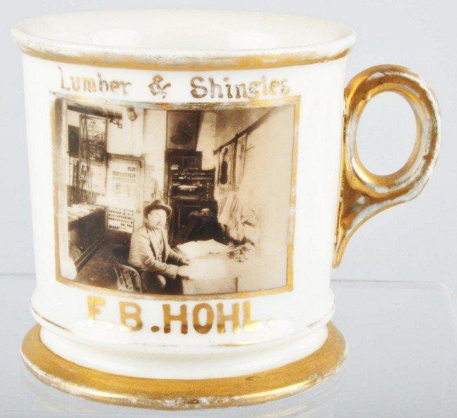 919: Photographic Image of Lumber Co. Shaving Mug.