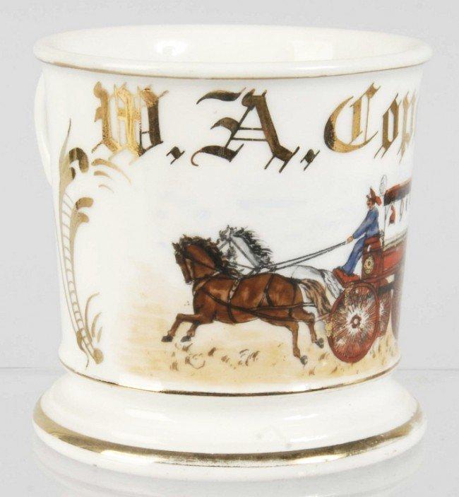 922: Horse-Drawn Fire Wagon Shaving Mug.