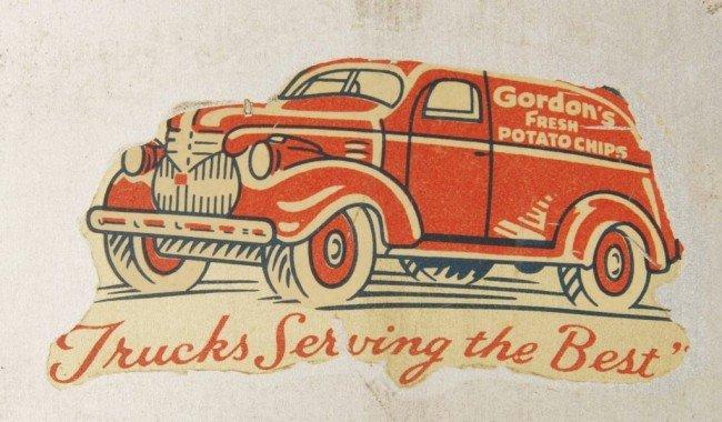 1025: Tin Gordon's Potato Chip Display Rack & Canister. - 2