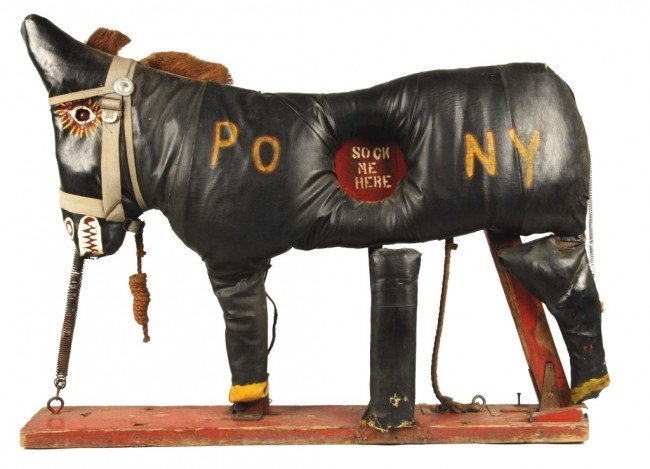 1285: Leather Over Wood Carnival Pony Target Game.