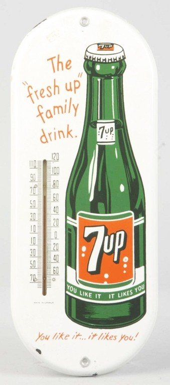 1625: Porcelain 7up Thermometer.