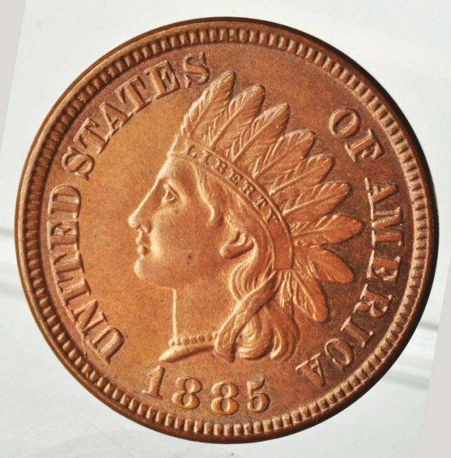 6: 1885 Indian Head Cent MS-65.