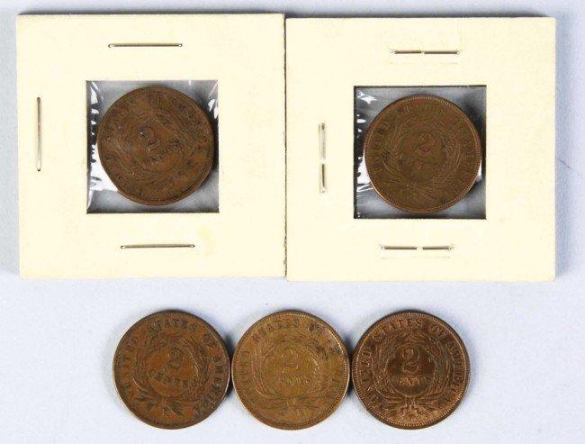 14: Lot of 5: AU/BU 2 Cent Pieces.