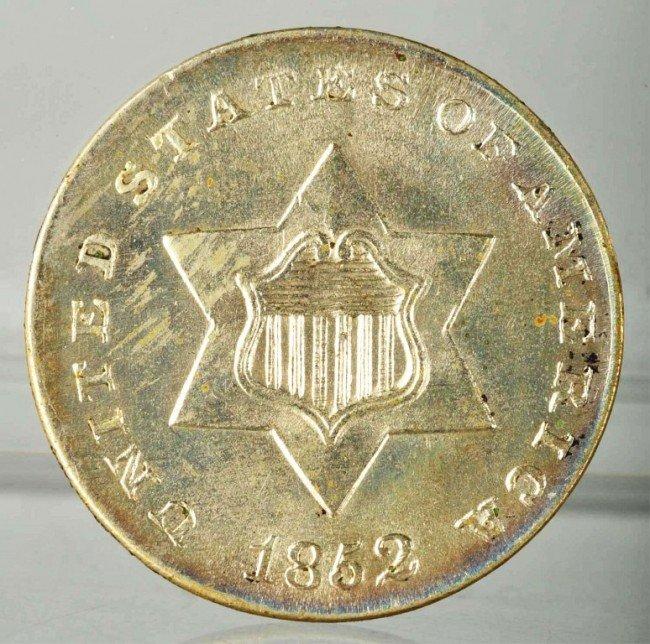 15: 1852 3-Cent Silver Coin BU.
