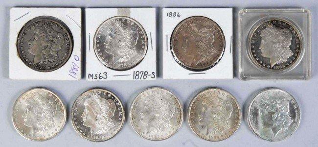 87: Lot of 9: Morgan Dollars.