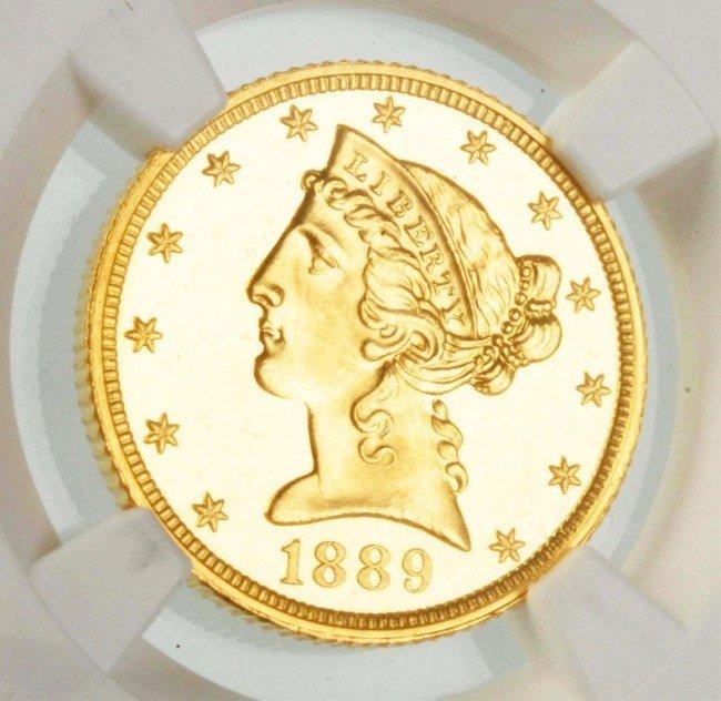 151: 1889 $5 Liberty Half Eagle NGC PF 65 Cameo.