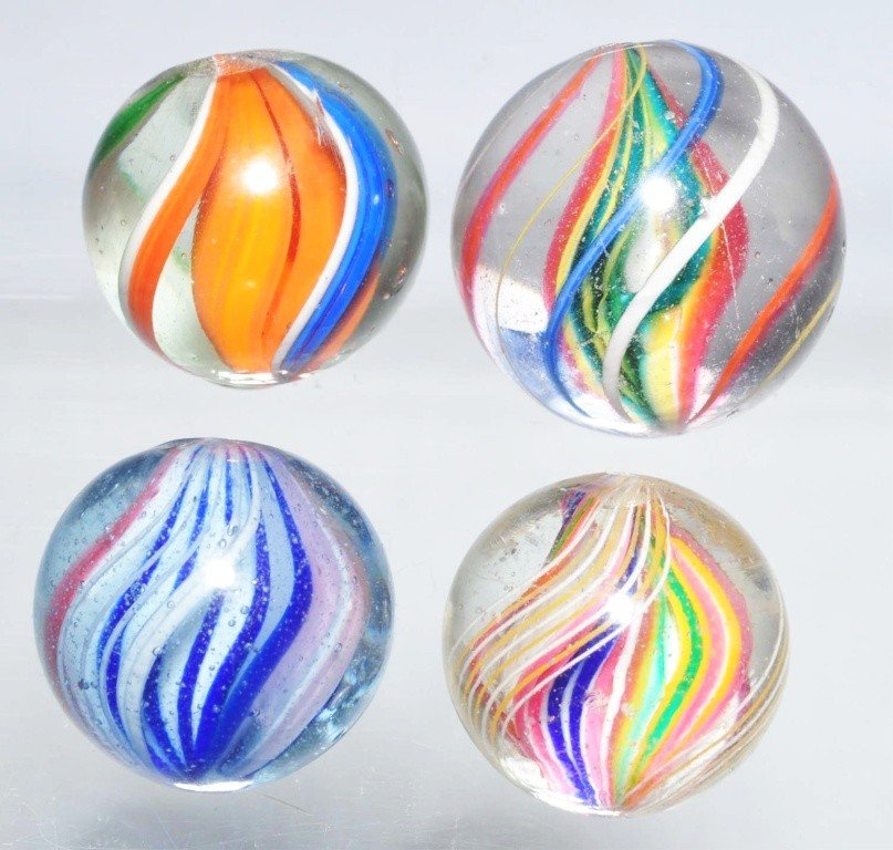2: Lot of 4: Swirl Marbles.