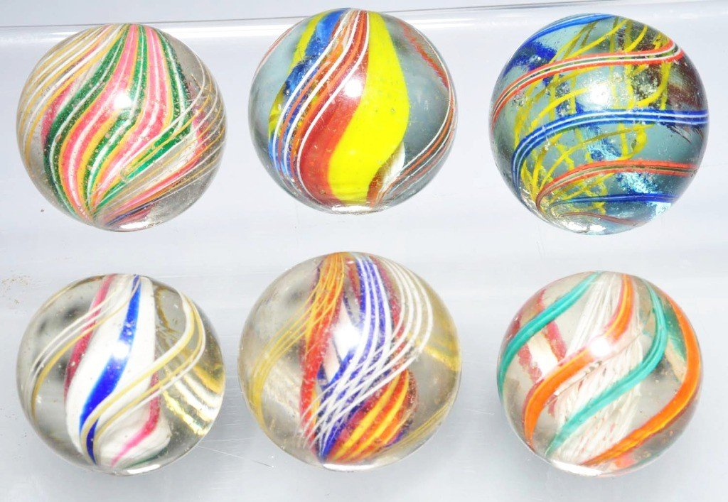 4: Lot of 6: Multi-Color Swirl Marbles.