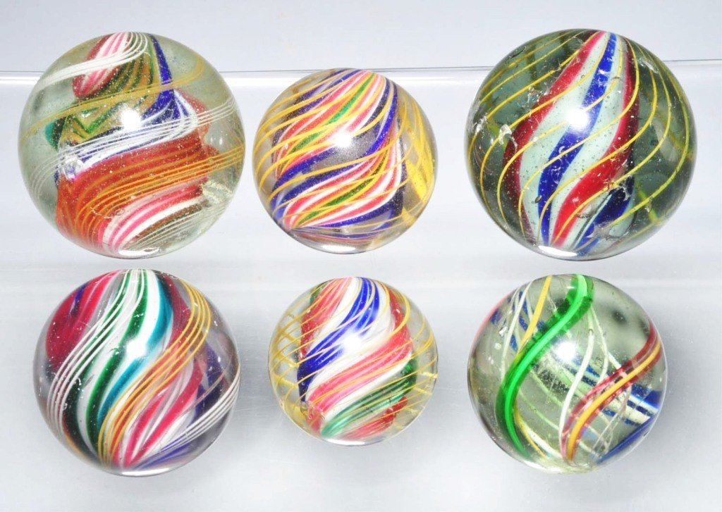 5: Lot of 6: Large Swirl Marbles.