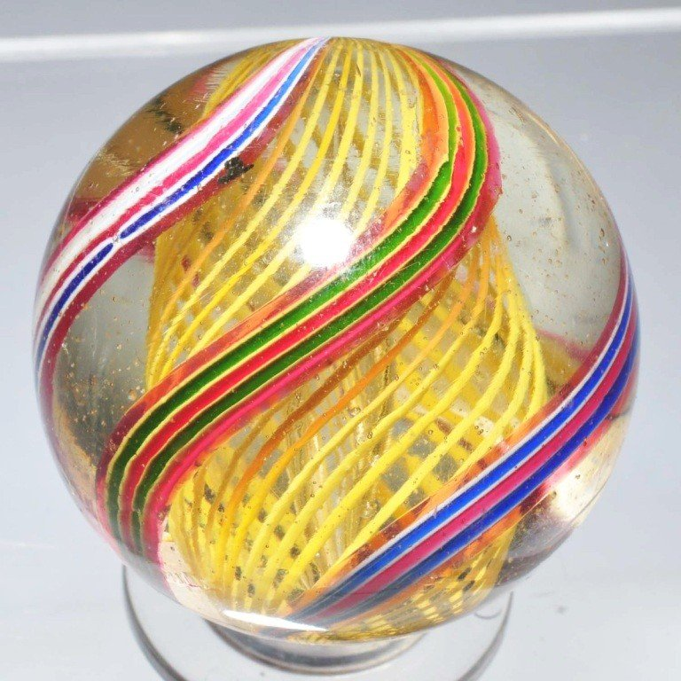 6: Large Latticino Swirl Marble.