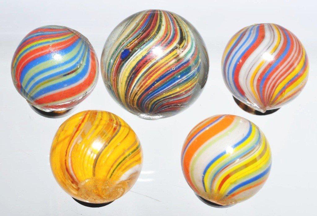 10: Lot of 5: Joseph's Coat Swirl Marbles.