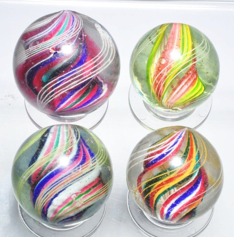 11: Lot of 4: Large Divided Core Swirl Marbles.