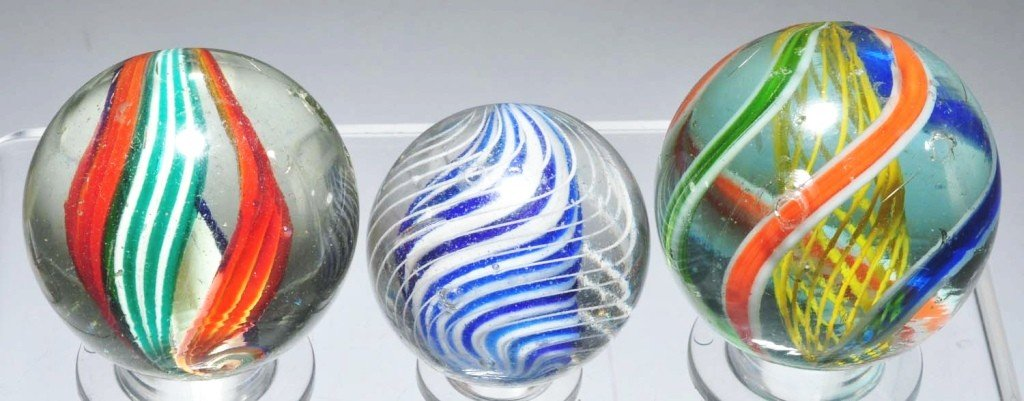 13: Lot of 3: Large Swirl Marbles.