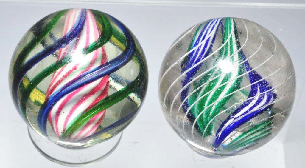 14: Lot of 2: Swirl Marbles.