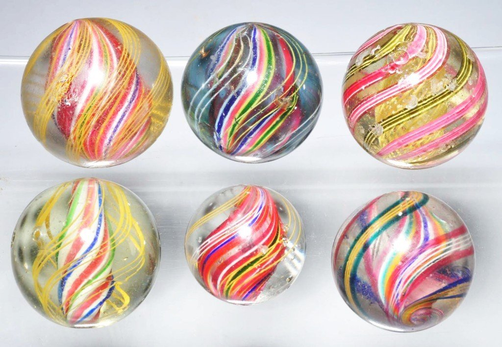 15: Lot of 6: Swirl Marbles.