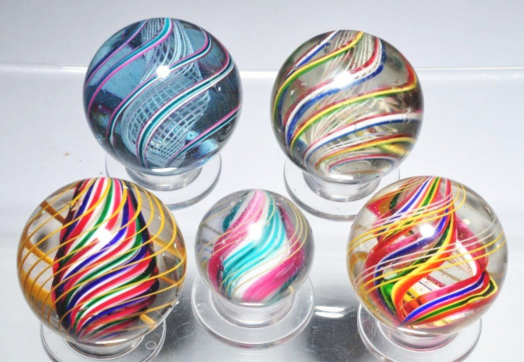 16: Lot of 5: Large Swirl Marbles.