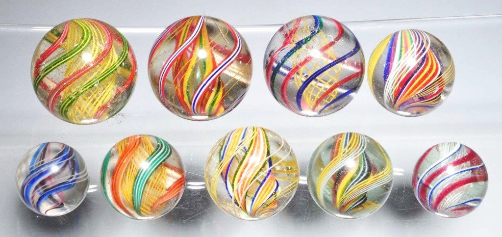 17: Lot of 9: Multi-Color Swirl Marbles.