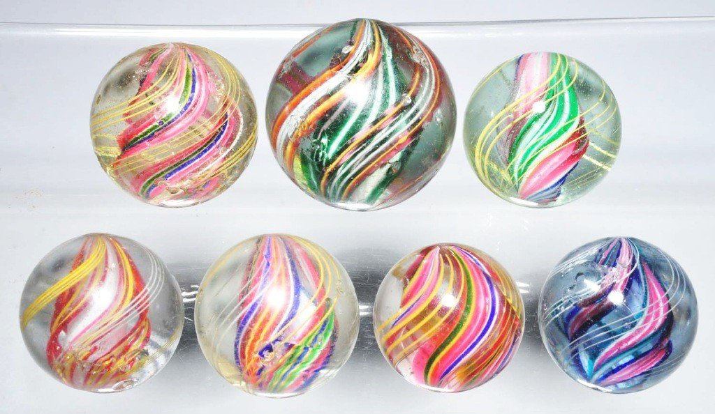 18: Lot of 7: Multi-Color Swirl Marbles.