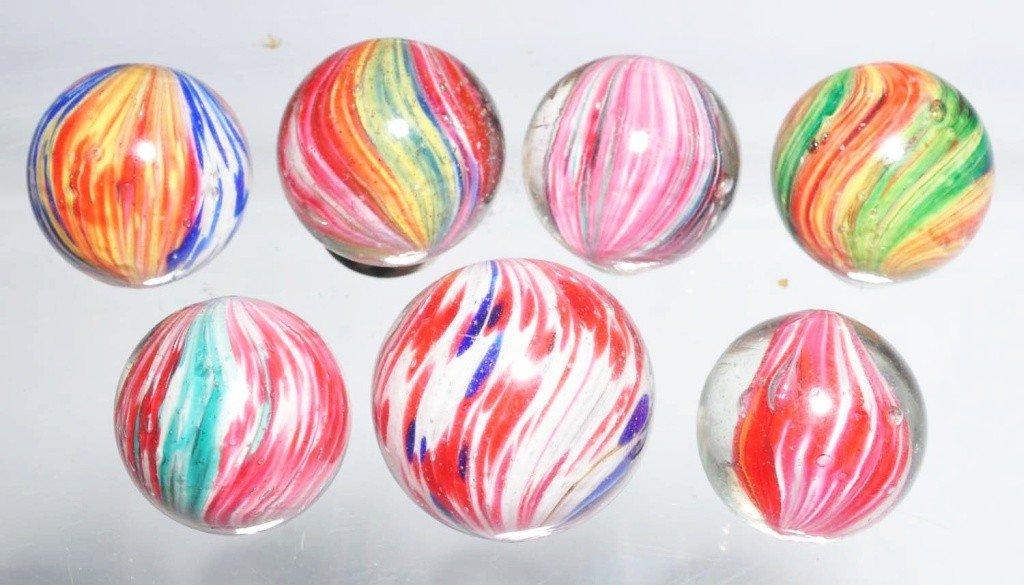 19: Lot of 7: Onionskin Marbles.