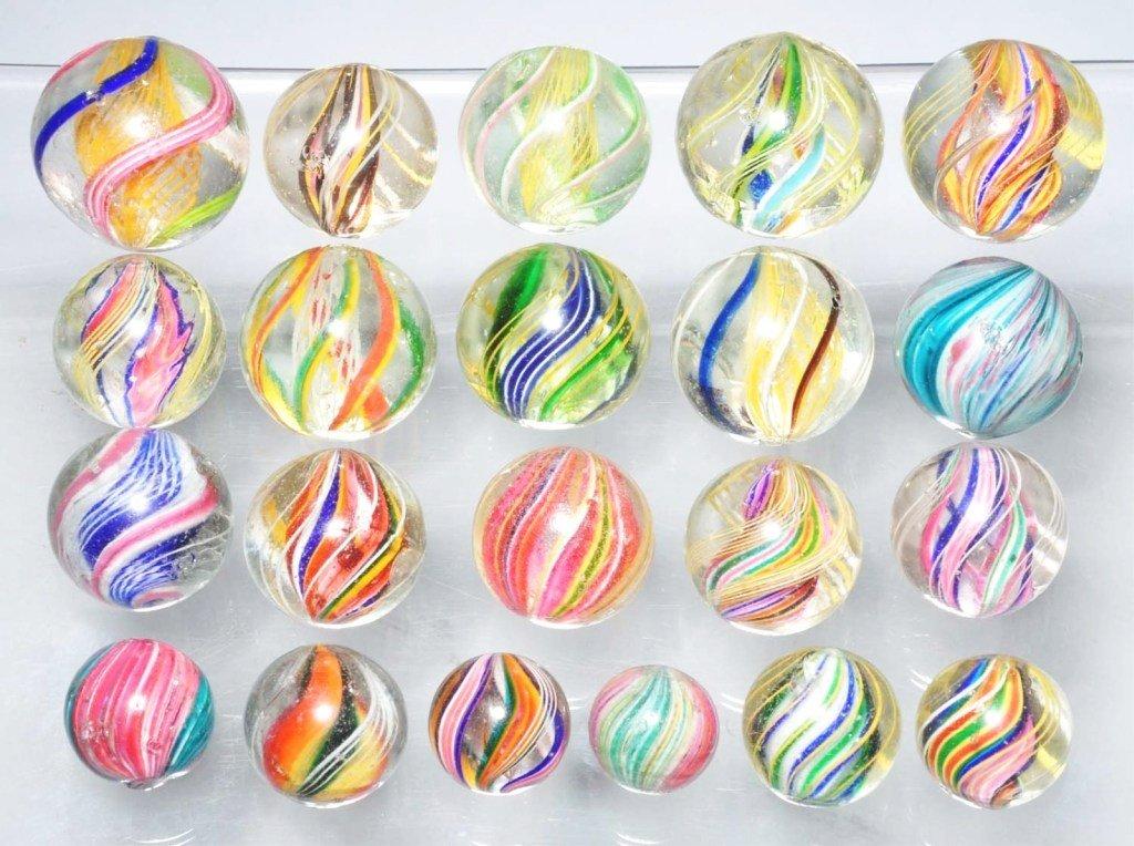 20: Lot of 21: Assorted Swirl & Onionskin Marbles.